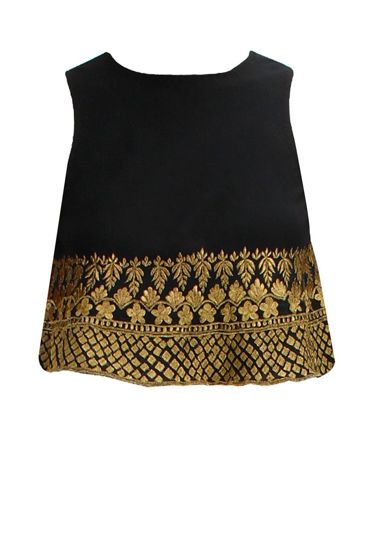 Black gold embroidered flared crop top available only at Pernia's Pop-Up Shop.