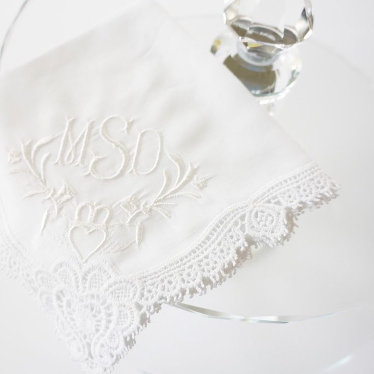 Irish Claddagh Cluny Lace Design With Embroidery Monogram Available In More Than 30 Thread Colors