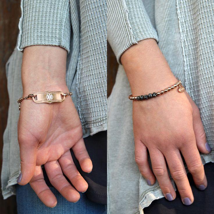 Wren Medical ID Bracelet (Shown w/ Rose Gold Tone La Petite Medical ID Tag) | Lauren's Hope