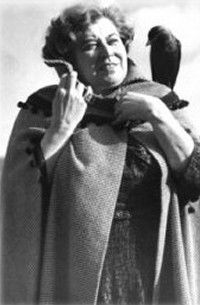 """Sybil Leek was an English witch, astrologer, psychic and occult author who wrote more than 60 books on occult and esoteric subjects. Dubbed """"Britain's most famous witch"""" by the BBC, she was a colourful character in her time. Her trademarks were a cape, loose gowns, a pet jackdaw named Mr. Hotfoot Jackson perched on her shoulders, and a crystal necklace that she claimed had been passed down to her from her psychic Russian grandmother."""