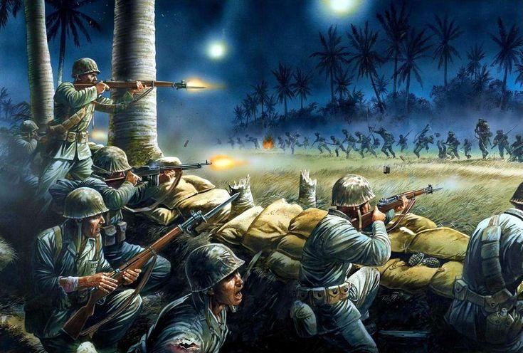 Американская самозарядная винтовка M1 Garand (иллюстратор Peter Dennis) M1 Garand - Американские морские пехотинцы в ходе сражения с войсками японской армии на острове Папуа - Новая Гвинея, осень 1942 года