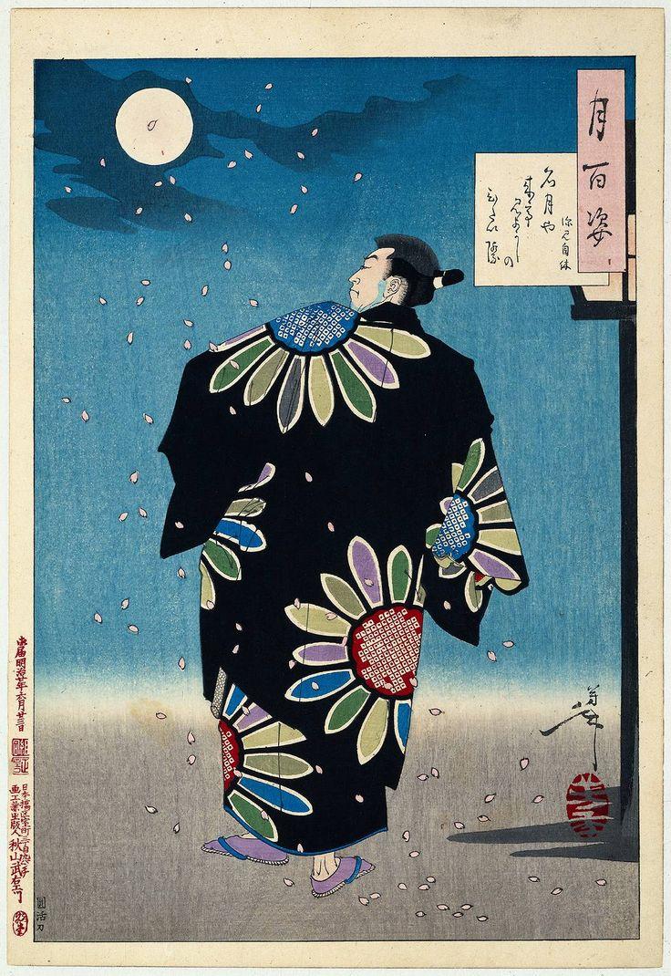 Fukami Jikyu in maanlicht, Tsukioka Yoshitoshi, Noguchi Enkatsu, Akiyama Buemon, 1887