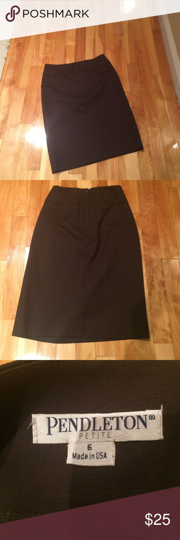 Brown pencil skirt Brown wool pencil skirt, petite fit with a little stretch.  Silk lining. Perfect condition! Pendleton Skirts Midi