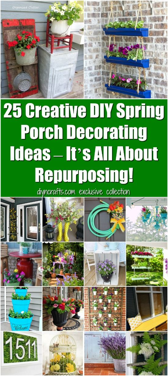 25 Creative DIY Spring Porch Decorating Ideas – It's All About Repurposing! Really easy projects to beautify your porch, curated and created by diyncrafts.com team <3 via @vanessacrafting
