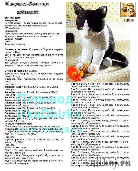 Черно белый кот спицами