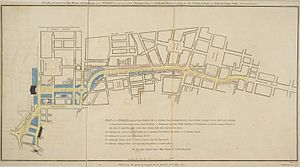 "Regent Street proposal, published 1813, titled ""PLAN, presented to the House of Commons, of a STREET proposed from CHARING CROSS to PORTLAND PLACE, leading to the Crown Estate in Marylebone Park"""