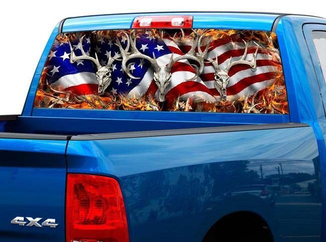 P443 American Flag Deer Rear Window Tint Graphic Decal Wrap Back Truck Tailgate | eBay Motors, Parts & Accessories, Car & Truck Parts | eBay!