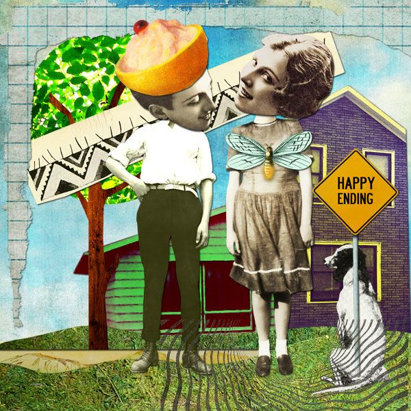 Happy Ending- a retro style digital paper collage Copyright Amber R. Tabangay 2015