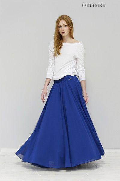 Faldas - L Mildren – falda de color de zafiro maxi DE fREE - hecho a mano por Freeshion en DaWanda