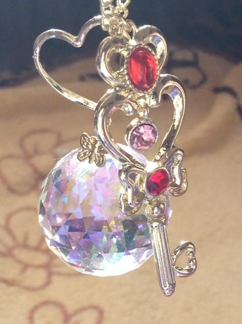 Sailor moon necklace   ....actually its Chibi Usa's necklace <.< her Time Key she got from Sailor Pluto and the Sliver Crystal which she took from her mother u.u correct me if I am wrong but I do believe I am right.