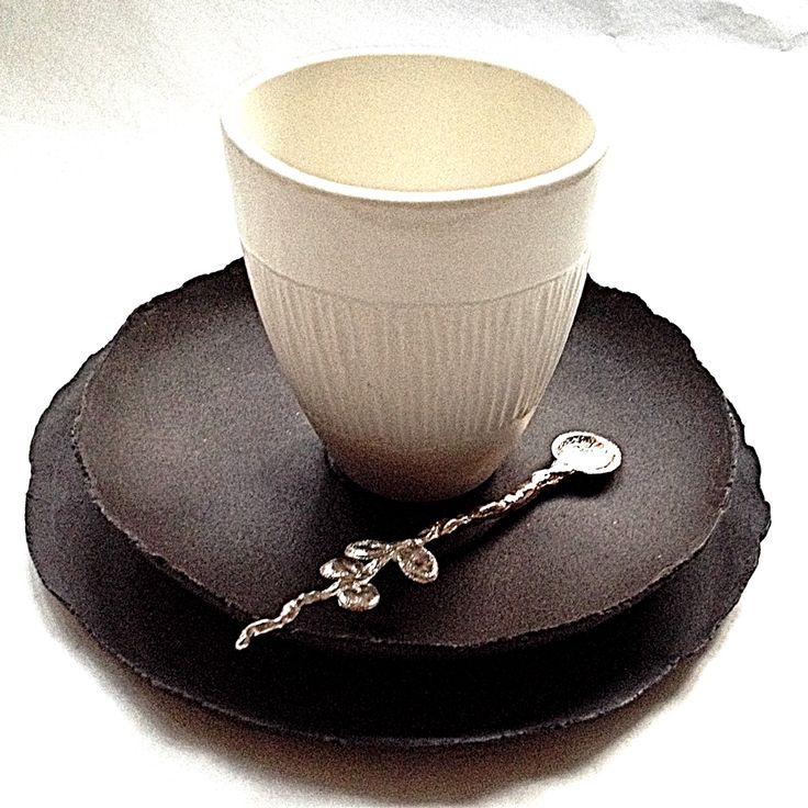 Porcelain espresso cup with stoneware saucer and biscuit plate and gilded silver spoon. Pamela Schroeder for Aboda     www.aboda.co.za