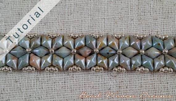 This bracelet whips up really fast! Once you get the hang of it, which doesnt take long, you can make this in about an hour.  *Almas means diamond, and its pronounced Al-Mass.  This pattern contains 6 pages of instructions in pdf with full-color illustrations to guide you along. This design is very easy and perfect for beginners.  Supply List - 141 11/0 seed beads (about 1.5 gram), Permanent Finish Platinum Gold, Toho #558pf - 91 Diamond Duos, Chalk Lumi Green - 1 Sew-on snap closure, size…