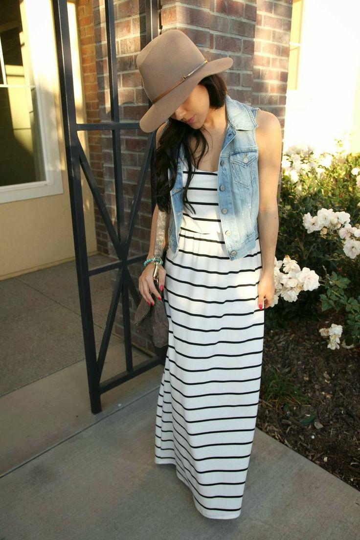 maxi dress and jean vest.