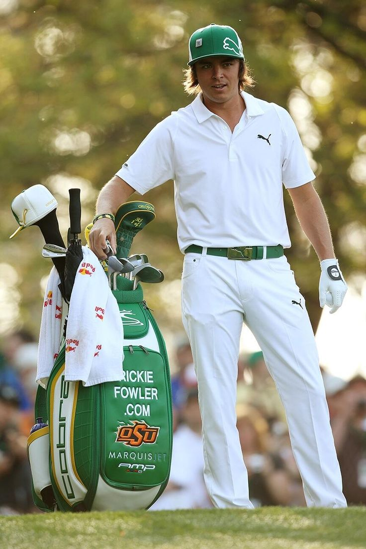 """April 8, 2013: """"It's @RickieFowlerPGA at @the_masters in his custom green #whatsyourfly gear,"""" tweeted Cobra Golf (@Charina Walker Änglaros golf) from Augusta National."""