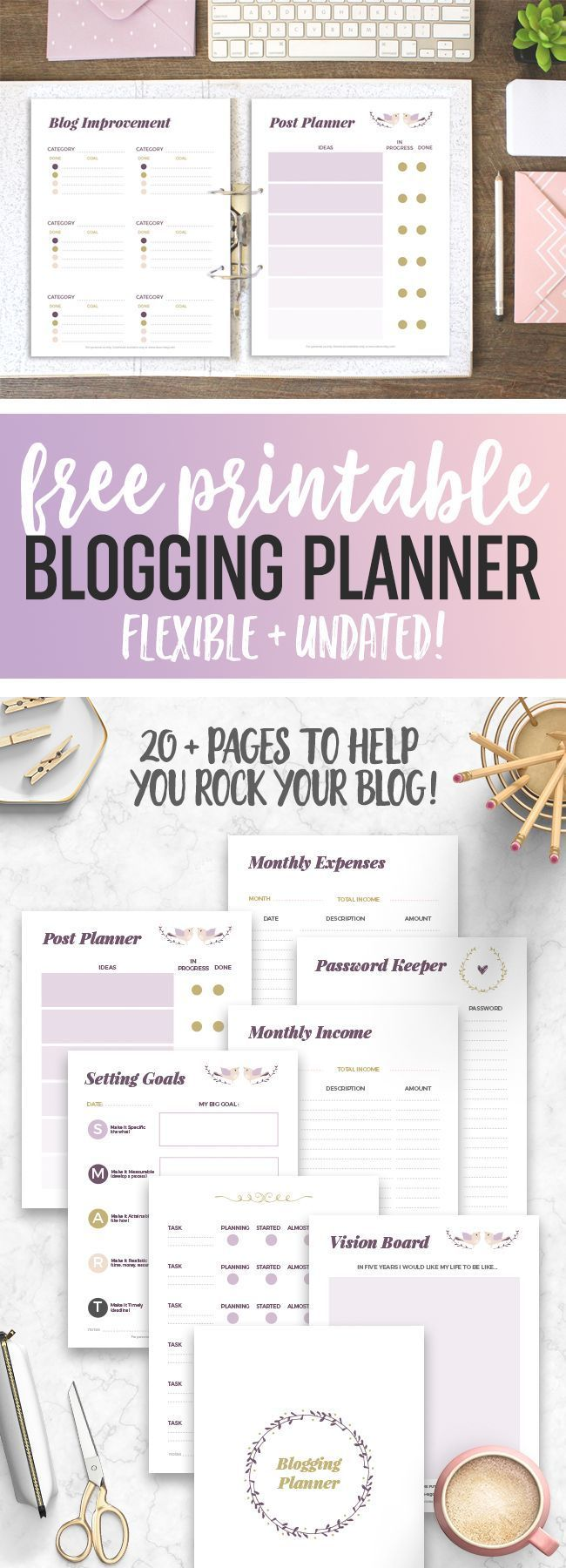 Our free printable blogging planner will help bloggers get their businesses organized and their blog goals on track for this year and beyond!