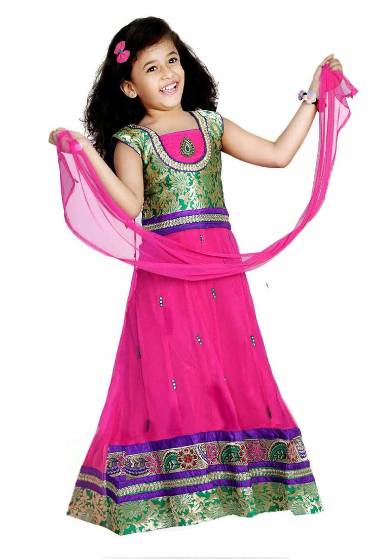 Kids girls Grand lehenga choli - Rs 1990 - Free shipping all over India - http://www.princenprincess.in/index.php/home/product/140/Pink%20net%20lehenga%20choli