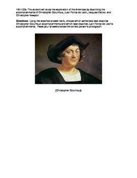 This activity is a Character category sort of the accomplishments and facts about Christopher Columbus and Ponce de Leon.  Students cut out the descriptions on the third page and paste them under the picture of the explorer to whom they belong.