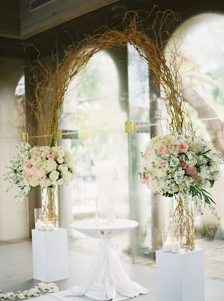 Curly willow wedding arch with peonies, hydrangeas and garden roses: Photography: Gianny Campos Photography - www.giannycampos.com   Read More on SMP: http://www.stylemepretty.com/2016/09/27//