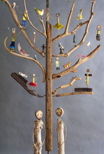 Credit: Edwina Bridgeman  The core work is the 'Tree of Life', made from an old hat-stand and covered with figures and animals with Adam and...