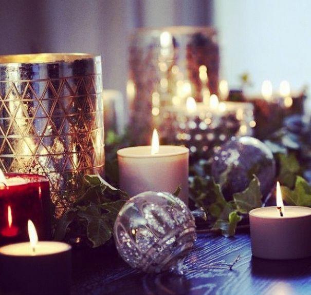 Новогодний декор со свечами