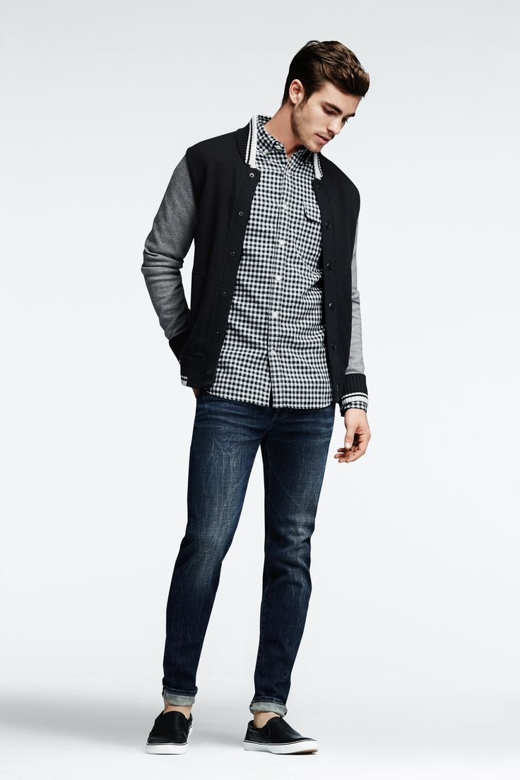 Pair our Mixed Media Baseball Jacket with jeans and a plaid button down for a relaxed weekend look.