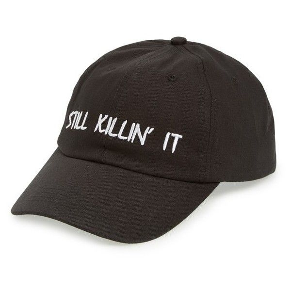 Women's Amici Accessories 'Still Killin' It' Ball Cap ($16) ❤ liked on Polyvore featuring accessories, hats, black, embroidered baseball hats, baseball caps, amici accessories, embroidered ball caps and canvas baseball cap