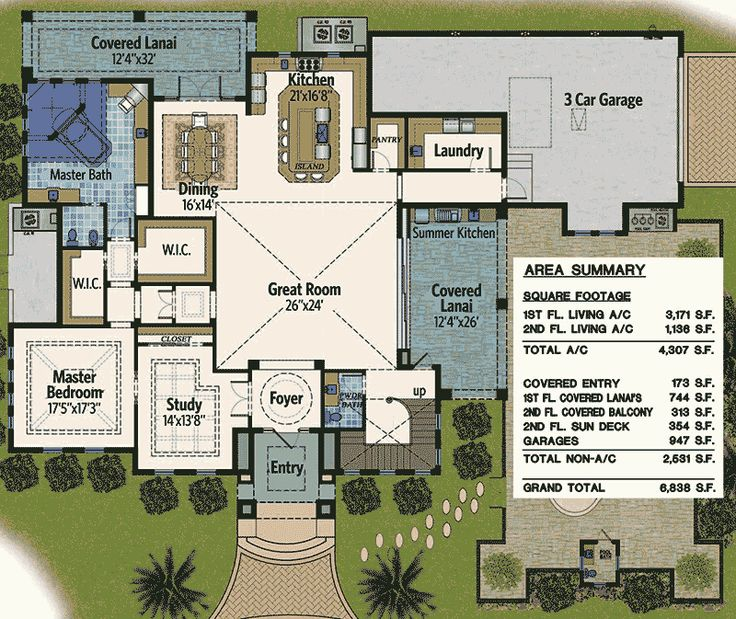 Plan 31817DN: Florida Home With Outdoor Living Spaces Part 60