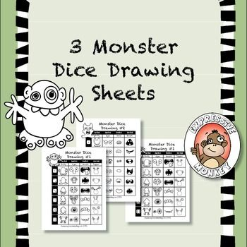 3 New Monster Dice Drawing Sheets by Expressive Monkey