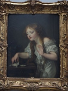 """You may think that I am going too far, but the dead bird in the picture represents the loss of virginity. Diderot was certainly well aware of it when he made his comment, """"I wouldn't mind being a cause of her pain."""" There are times when Jean-Baptiste Greuze is a little more explicit, adding to a symbolic object, like a broken jug below, a naked breast, crumpled dress anddisheveled hair."""