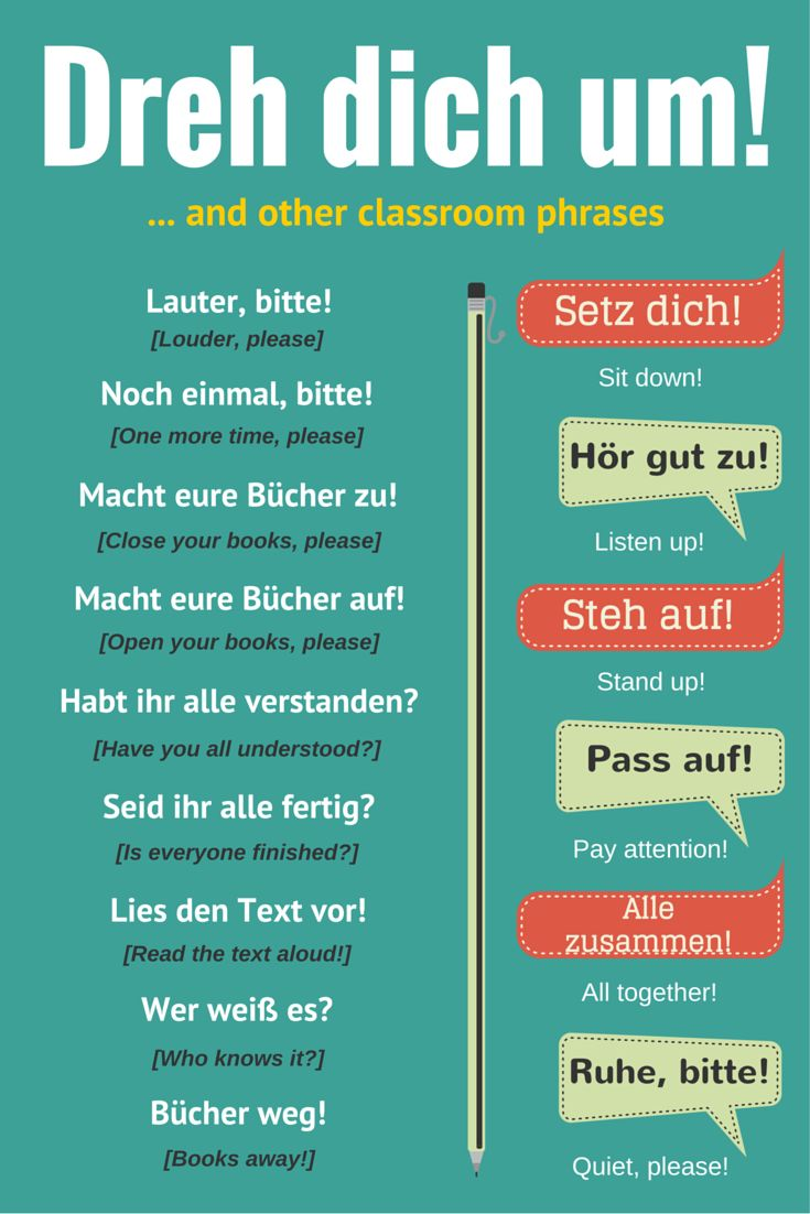 Common classroom phrases in #German. Examples of what your teacher might say. #Language #Phrases #Learn