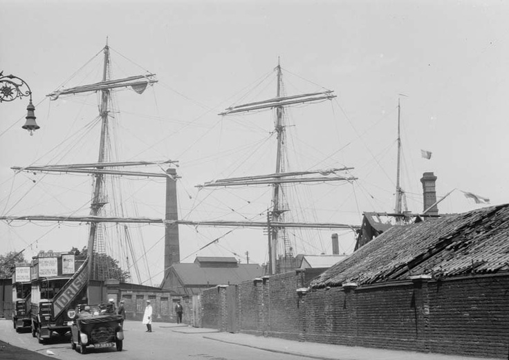 View from Prestons Road of the barque Prompt entering in the lock at the Blackwall entrance to West India Dock, where the Blue Bridge is today. Photo by A. G. Linney, June 1929