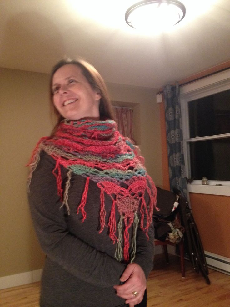 Multicolored, triangular scarf by me.