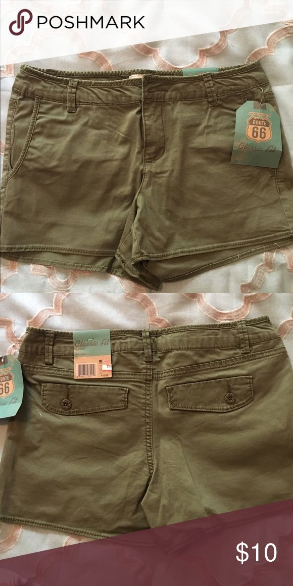 NWT army green shorts Khaki style army green shorts. New With Tags. Front and back pockets. Shorts