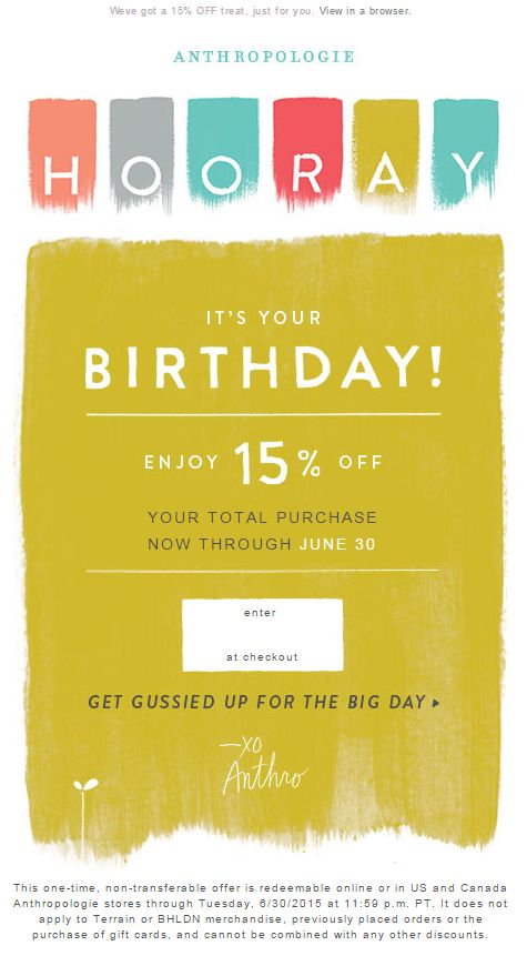 Anthro Birthday email 2015