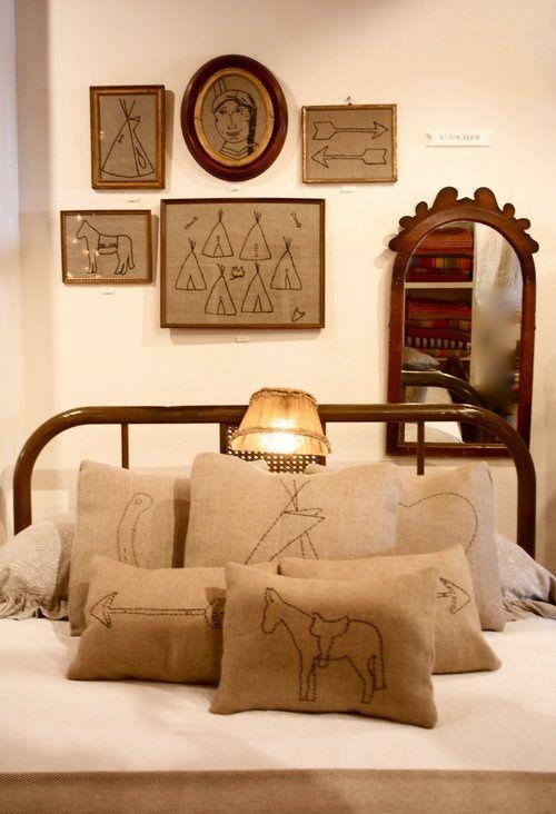Fun rustic chic bedroom pillows!