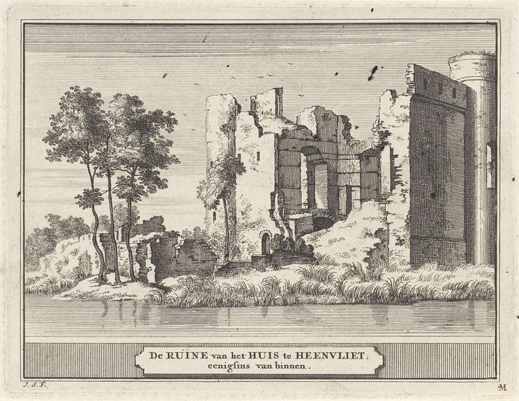 Jacobus Schijnvoet | Gezicht op de ruïne van kasteel Heenvliet, Jacobus Schijnvoet, Roelant Roghman, Pieter de Coup, 1711 - 1774 | Prent rechtsonder gemerkt: M.