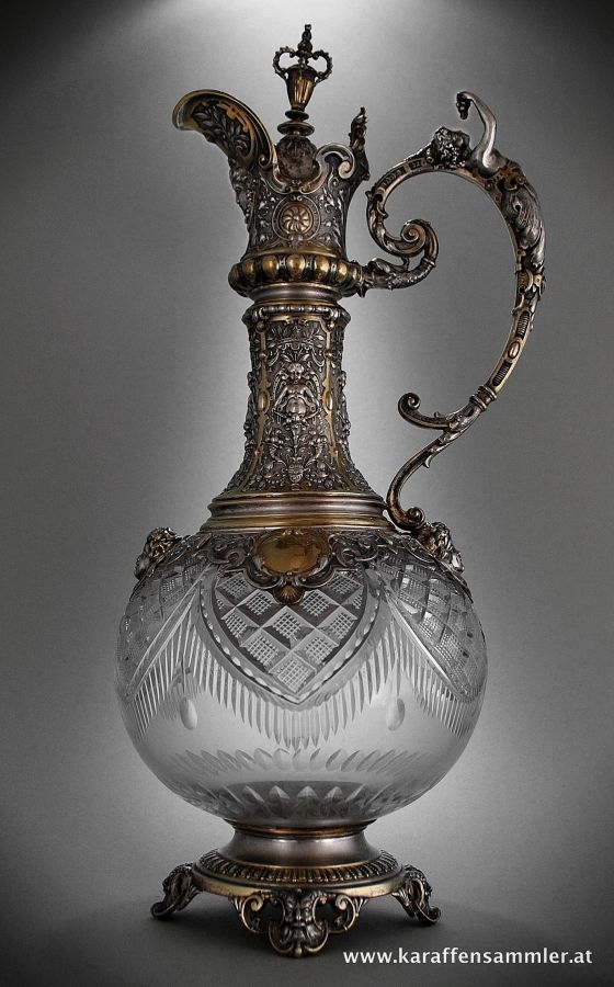 Glass Claret Jug  - Germany 1880 - with silver and silver gilt mounting