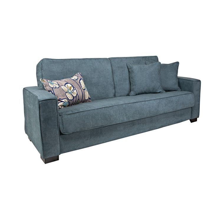 The Portfolio Gresham Convert-a-Couch features a transitional designed sofa sleeper with extra-wide squared arm design for additional comfort. The Gresham futon sleeper sofa is covered in a a soft velvet like evening blue fabric.