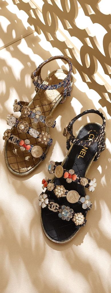 CHANEL Embellished sandals ✿⊱╮