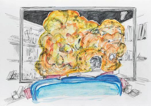 Sneak peek_06: Wolfgang Neumann, 2014 Bleistift und Aquarellstift auf Papier Pencil and watercolor pencil on paper, 30 x 42 cm In: Aras Ören, Kopfstand, Seite 44_45 / page 44_45