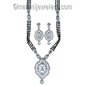 Diamond Exquisite Mangalsutra 18 Karat White Gold.