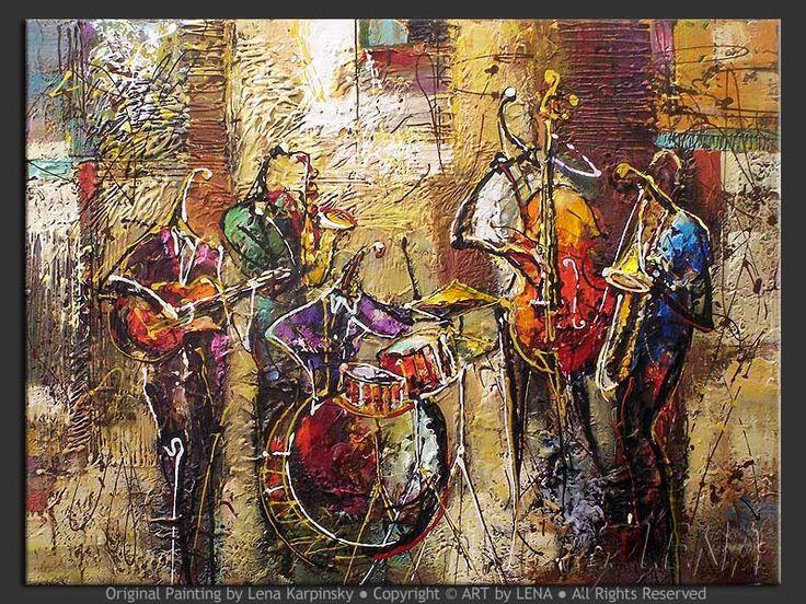"""""""Street Jam"""" - Original Music Art by Lena Karpinsky, http://www.artbylena.com/original-painting/21129/street-jam.html"""