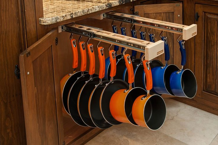 Glideware cabinet hanging pot and pan rack  Per their website: If you pledge $125 now, you will be one of the first to receive the system which will retail for $175.