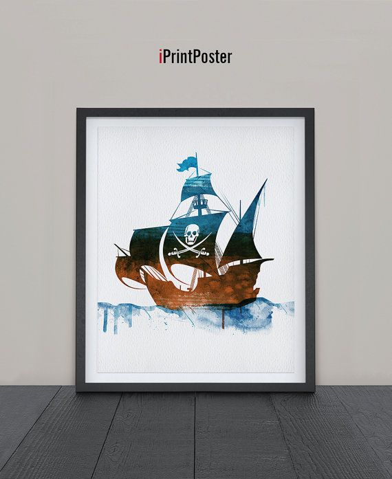 Pirate Ship Print Watercolor Nursery Poster Art By