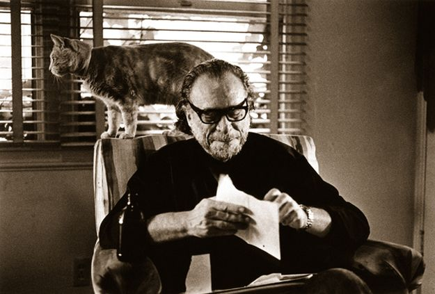 """<b>Bukowski's reputation as a crotchety old man who liked to drink and use a lot of swears was well-earned, but this poem from his book <a href=""""http://www.powells.com/biblio/1-9780061228445-0"""" target=""""_blank"""">The Pleasures of the Damned</a> reveals a softer, kitty-loving side of him.</b>"""
