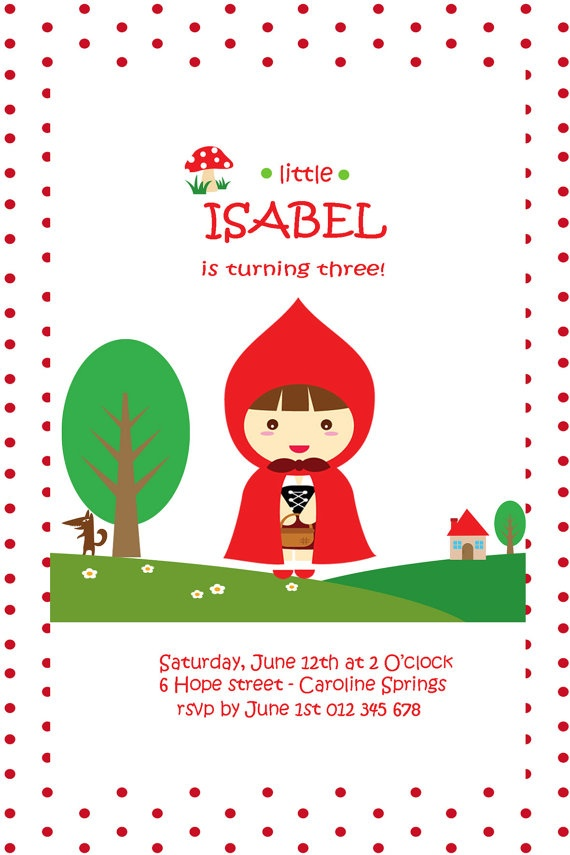 http://www.etsy.com/shop/HoorayStudio Little Red Riding Hood Printable Birthday Invite by HoorayStudio, $15.00