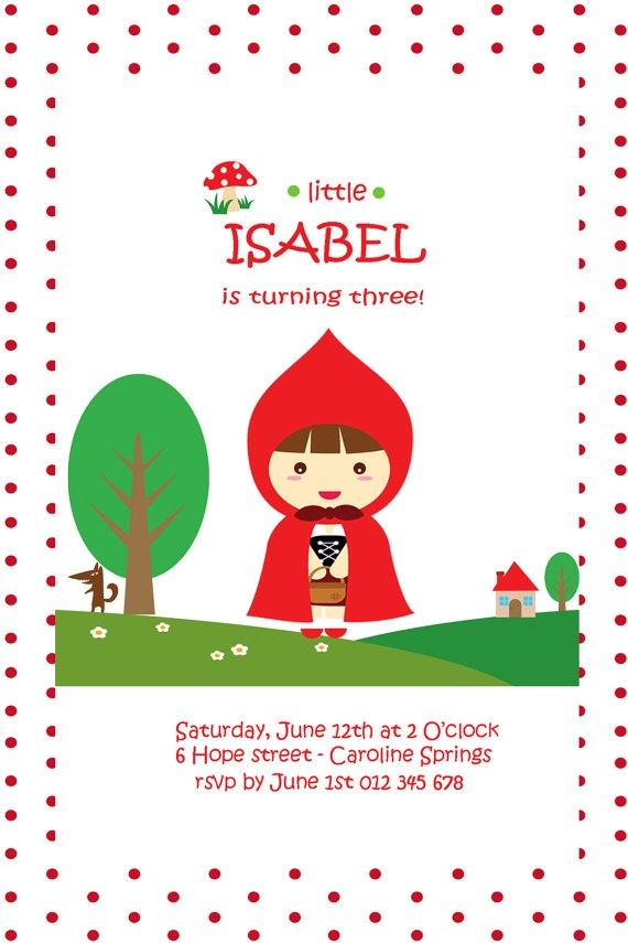 http://www.etsy.com/shop/HoorayStudio Little Red Riding Hood Printable Birthday Invite by HoorayStudio, $15.00