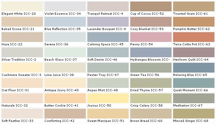 Behr green tea color chart paint colors pinterest - Colour charts for interior painting ...