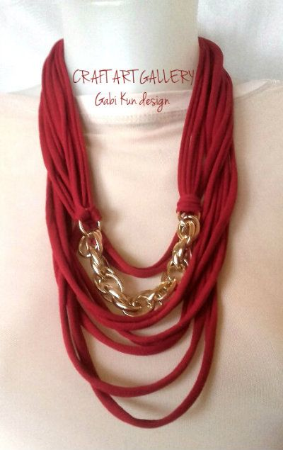 T-shirt yarn necklace https://www.facebook.com/Craft-Art-Gallery-444234632336667/