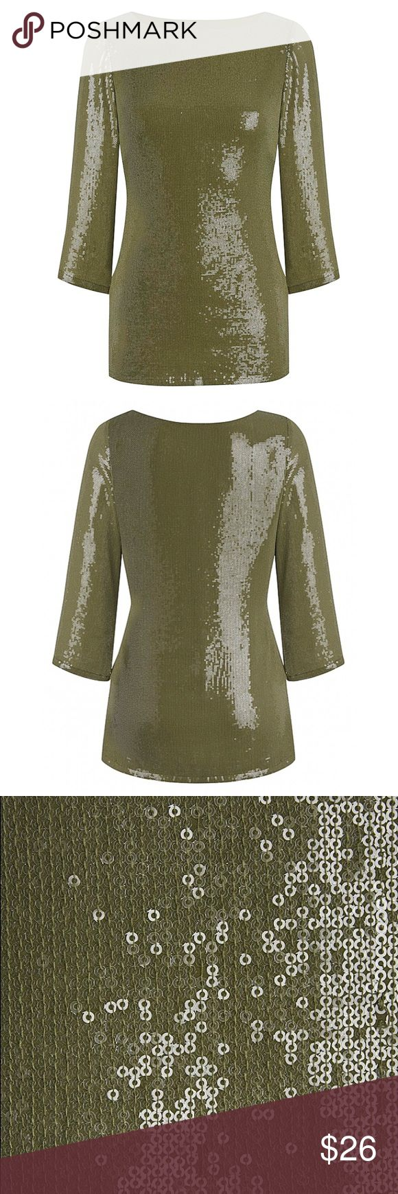SIMPLY BE khaki green sequin top Sz 14 Brand new with tags! Purchased from SIMPLY BE in size US 14 - entire top is green sequins. Absolutely gorgeous!! 3/4 length sleeve. Bringing glitz and glam to your wardrobe couldn't be easier this season. Beautifully fashioned in an on-trend khaki shade, this chic top features all-over sequin detailing for a modern outfit boost. Designed in a classic T-shirt style, this sparkly top looks great with smart pants. Length 27in/69cm. Hand wash. Polyester…